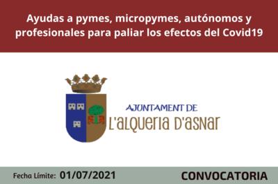 Ayudas a pymes, micropymes, autónomos y profesionales de l'Alqueria d'Asnar
